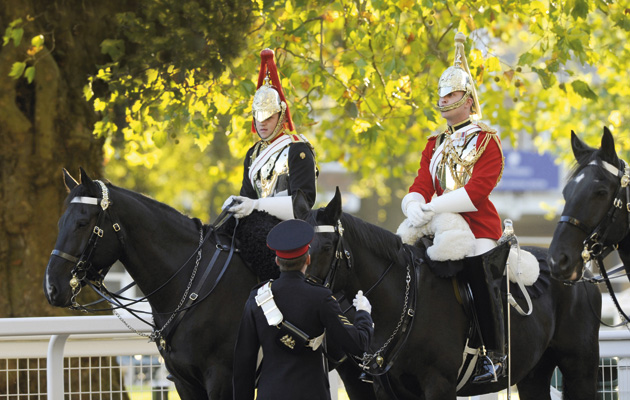 The Household Cavalry enjoy the Autumn sunshine at Ascot 15-10-11 Pic Bill Selwyn