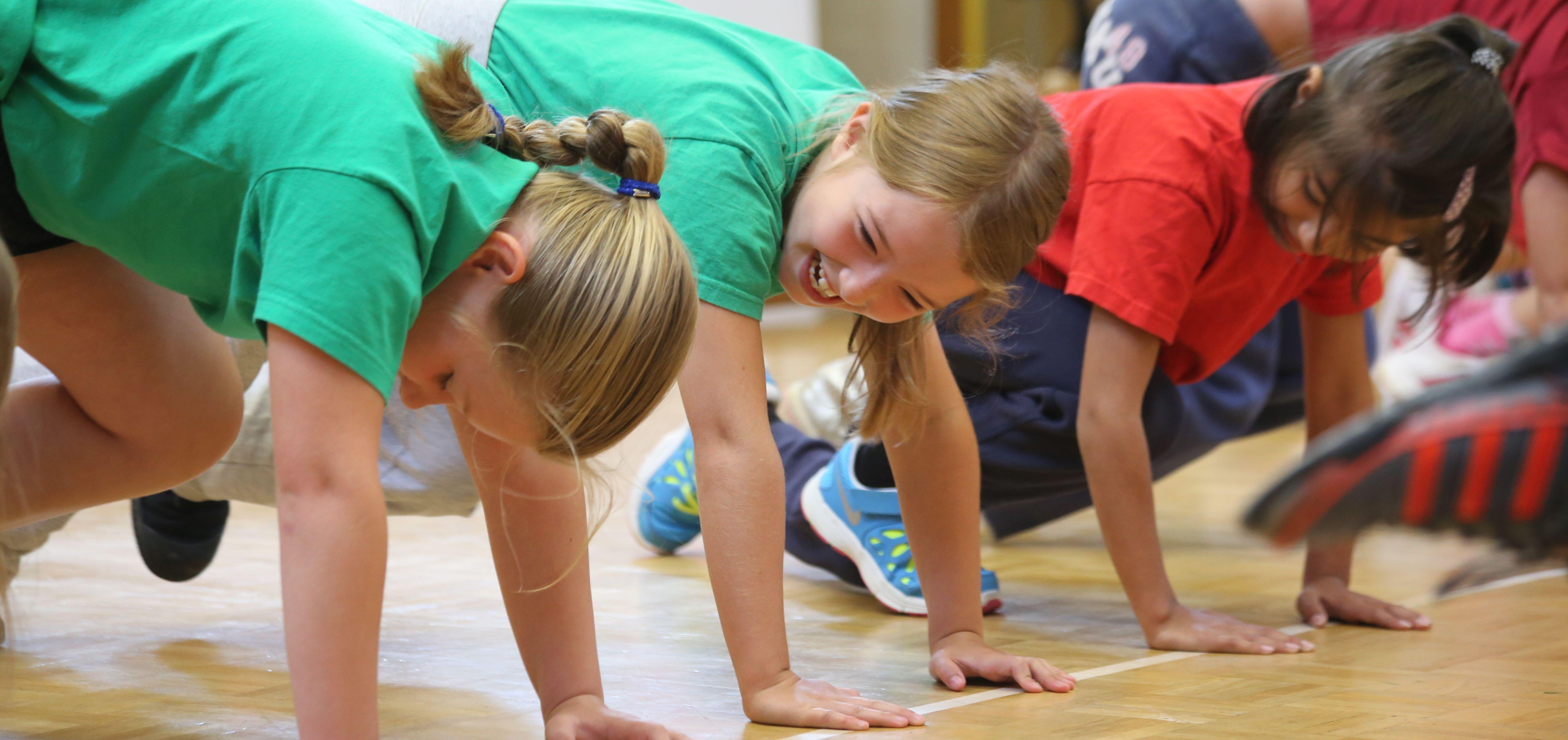 Kids doing push-ups